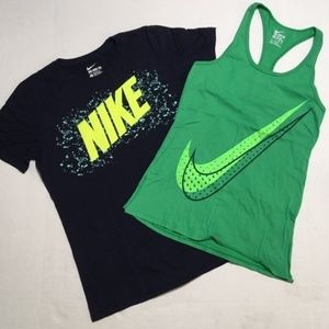 NIKE Graphic Tees Black & Green with Large Logos